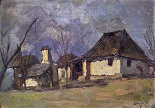 Iacob Brujan (Romanian, 1898-1984) - Houses, Oil on