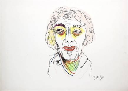 Yaacov Elchanani (b.1947) - Self Portrait, Pastel on