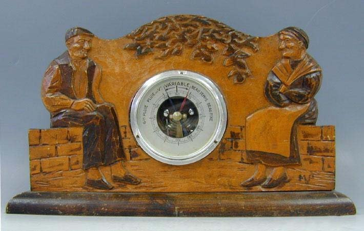 French Table Barometer Set In A Carved Thick Wood Stand