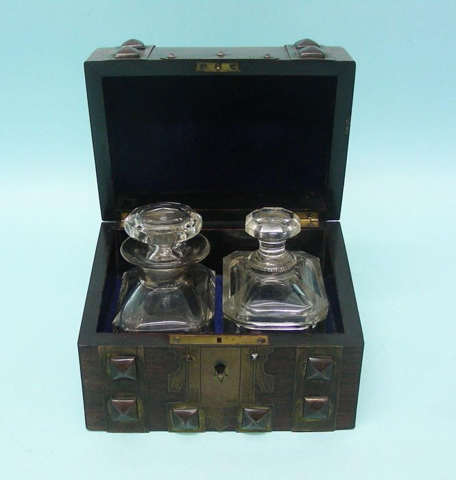 Perfume Casket With Two Crystal Bottles, Ca 1850.