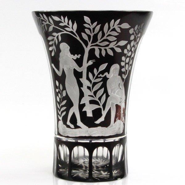 Bohemian Ruby Glass Vase, Ca 1920.