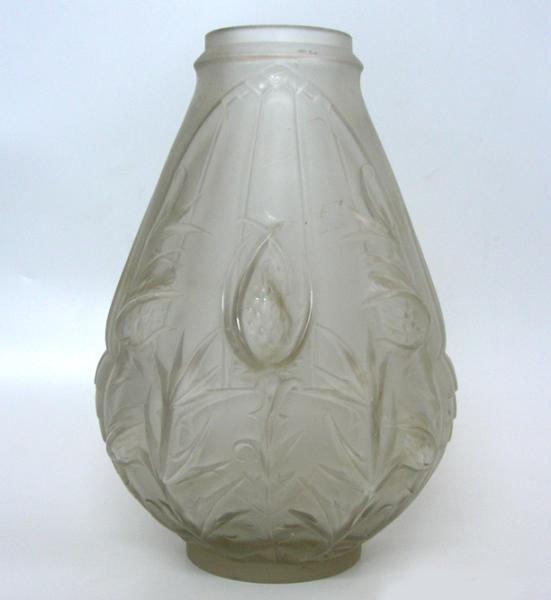 Art Nouveau Etling Glass Vase, M. Perron, Circa 1920.
