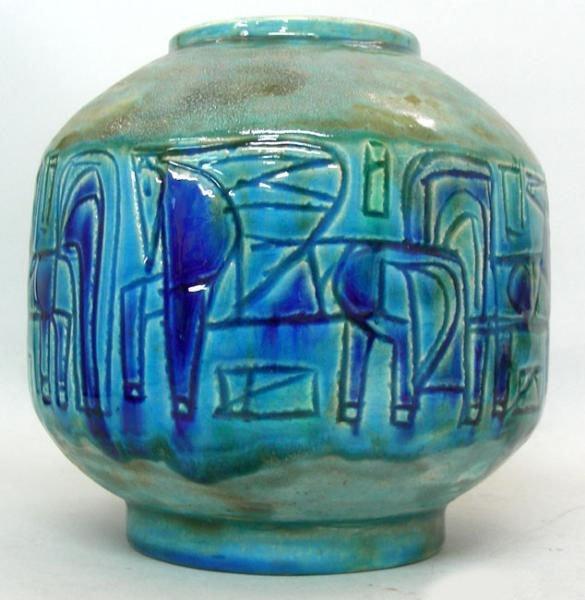 Gofer Glazed Ceramic Horse Flower Vase, Israel,
