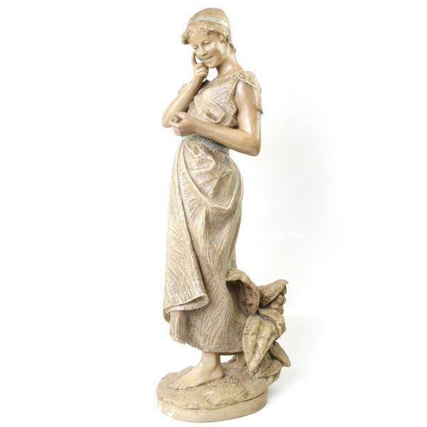 """Goldscheider Terracotta Maiden Sculpture """"Ist Es Wahr"""""""