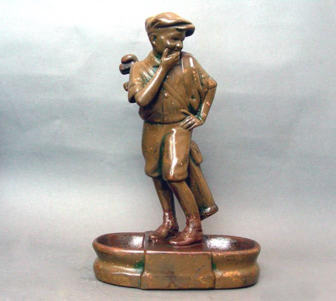 Copper On Plaster Golf Caddy Boy Sculpture / Desk Stand
