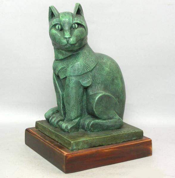 Eliezer Weishoff Bronze Cat Sculpture, Israel,