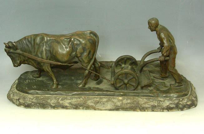 S. Bauer Bronze Sculpture – Plowing Farmer