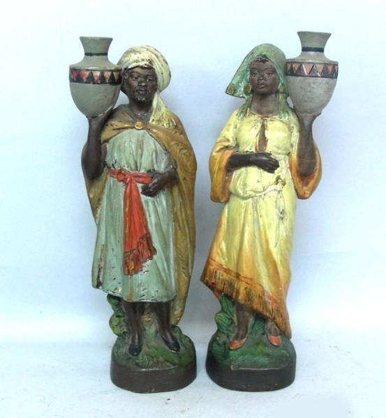 Pair Of Terracotta Oriental Figures Sculptures
