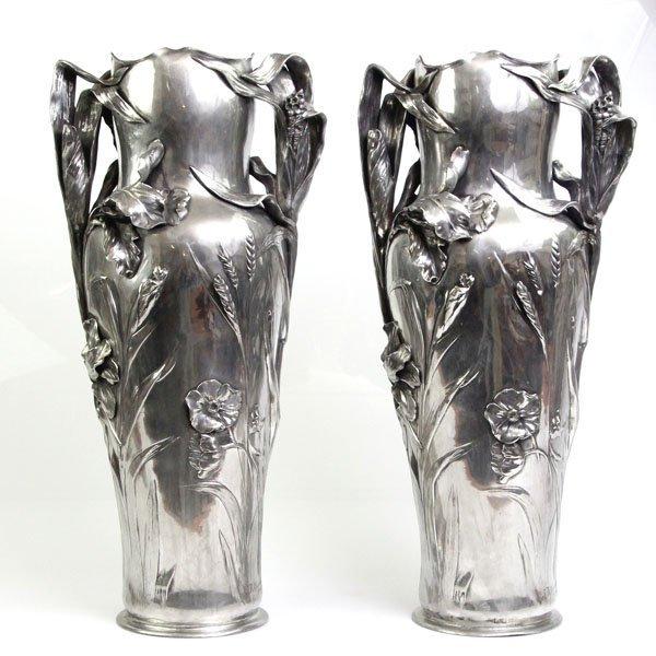 Art Nouveau Pair Of Pewter Floor Vases, J.R. Hannig