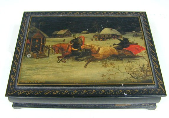 Russian Lacquered Papier Mache Wooden Jewelry Box, 1944