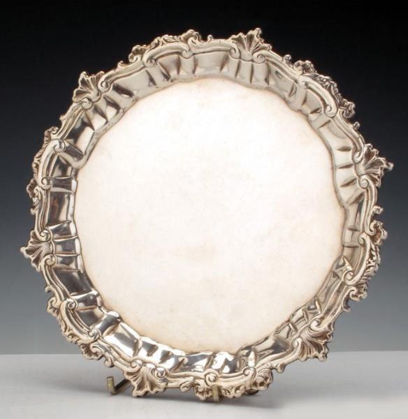 George III Sterling Silver Salver Ebenezer Coker, 1757.