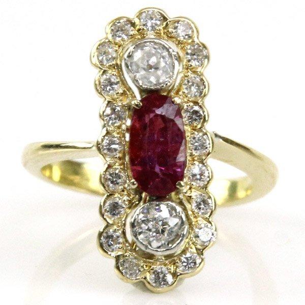 Vintage 18k Yellow Gold Ruby & Diamond Ring.