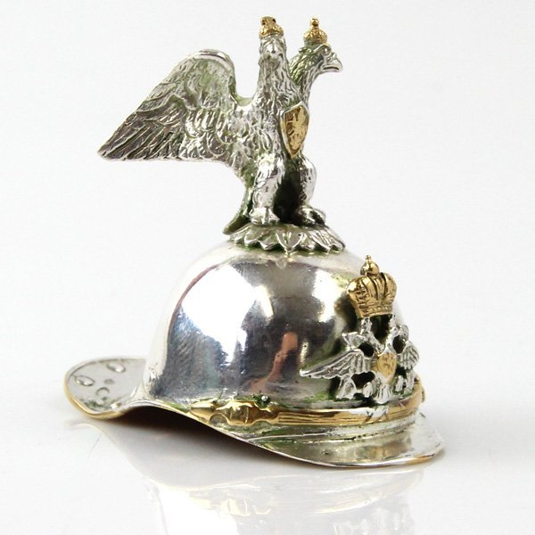 Silver Lobster Tail Helmet Vodka Cup, Moscow, 1908-17.