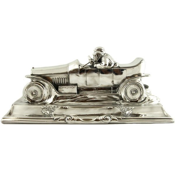 WMF Silver Plated Pewter Racing Car Inkstand, Ca 1905.