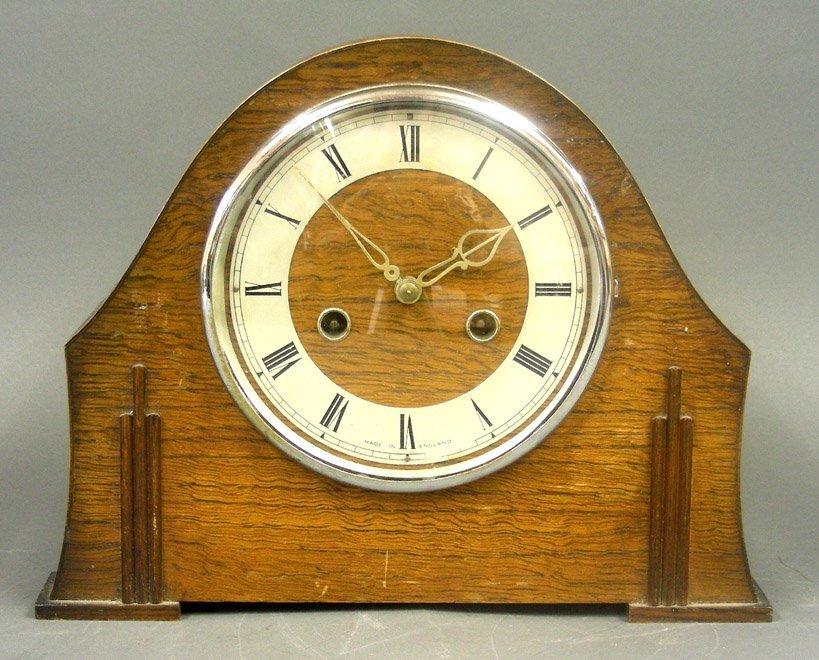 Art Deco Enfield Oak Wood Mantel Clock, England, 1930s.