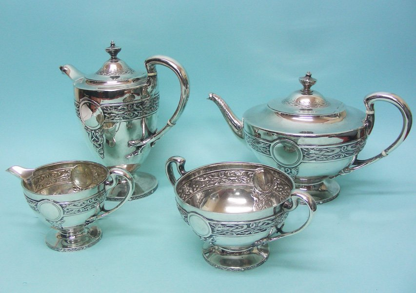 Scottish Sterling Silver Tea Set Stewart Dawson 1910