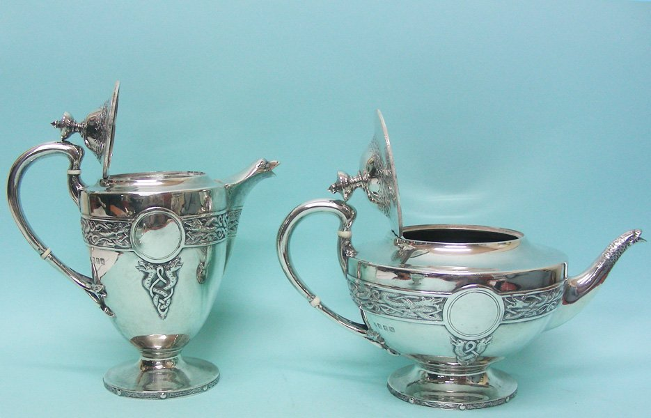 Scottish Sterling Silver Tea Set Stewart Dawson 1910 - 2