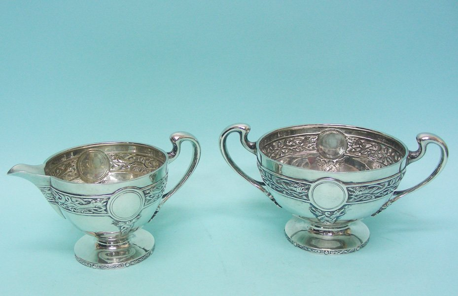 Scottish Sterling Silver Tea Set Stewart Dawson 1910 - 3