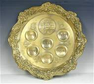 Lacquered Brass Passover Seder Plate Israel 1950s