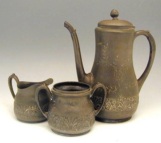 Antique Pairpoint Quadruple Plate 3pcs Tea Set