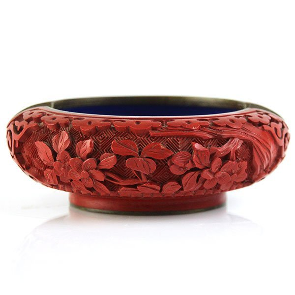 Chinese Red Cinnabar and Enamel Ashtray