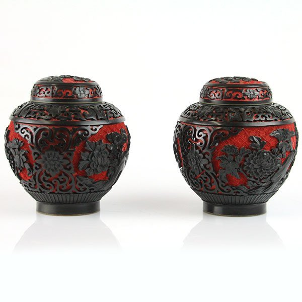 Pair of Chinese Cinnabar and Enamel Tea Caddies.