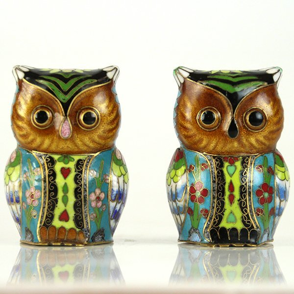 Pair of Colorful Chinese Cloisonne Enamel Owls.