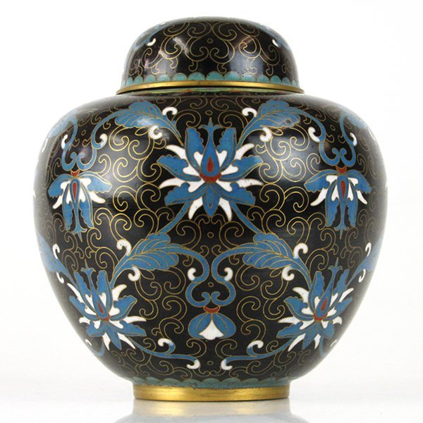 Chinese Cloisonne Enamel Jar with Cover.