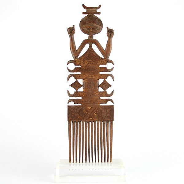 Antique African Hand Carved Wood Figural Comb.