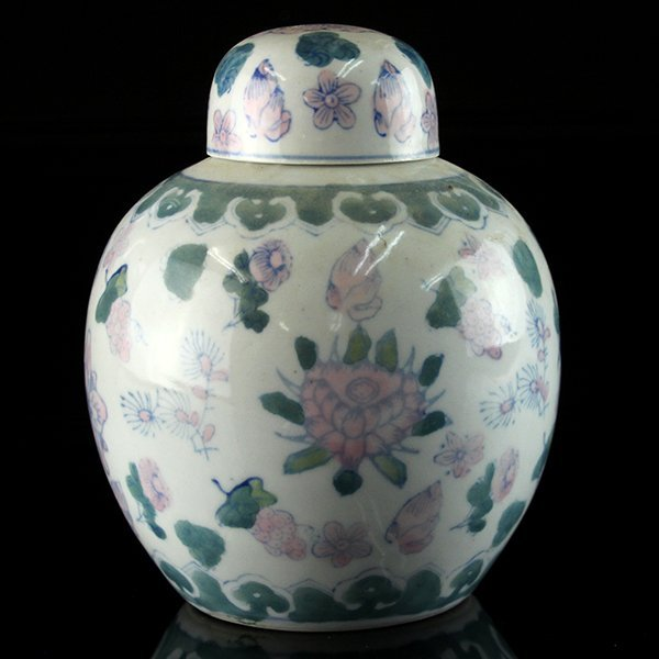 Chinese Ceramic Tea Caddy.