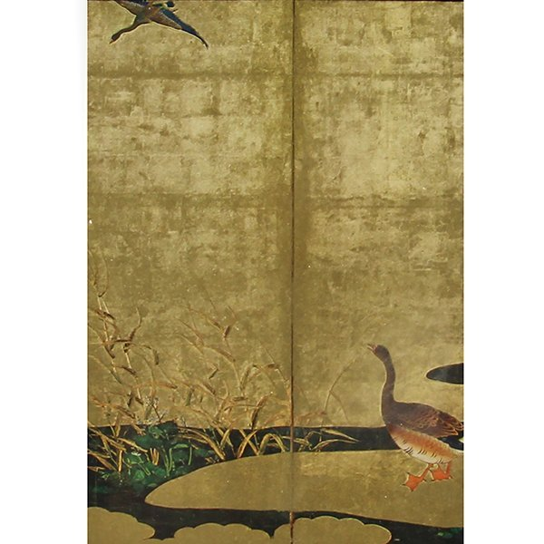 Japanese Print of Geese on Gold Leaf.