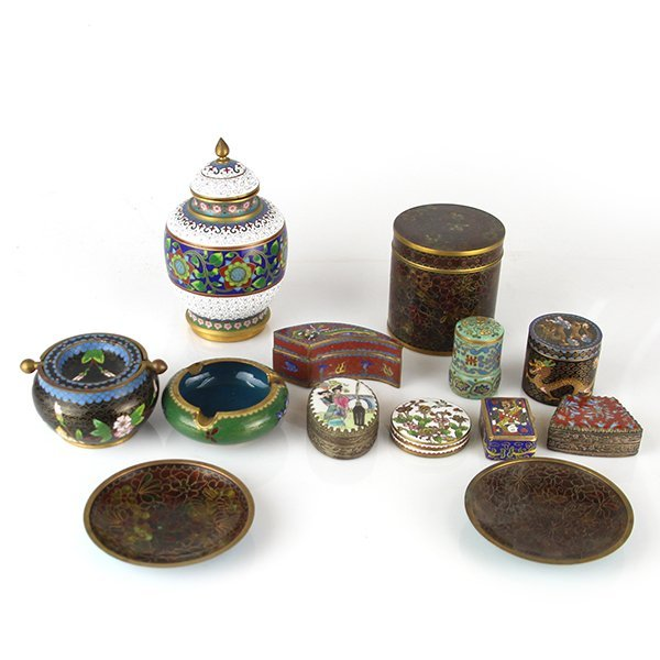 Lot of 12 Chinese Cloisonne Enamel Items
