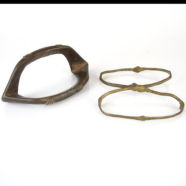 Three African Slave Leg Ankle Bracelets.