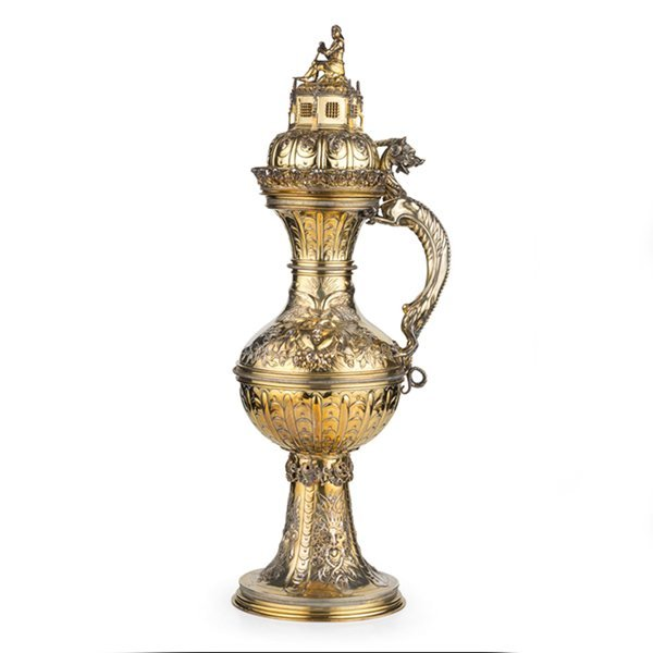 Rare Huge Silver Gilt Historic Ewer Hanau Germany C1880