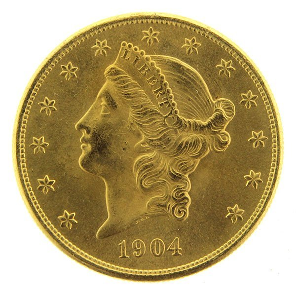 US $20 Twenty Dollars Gold Coin, Liberty Head, 1904.