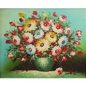 Robert Cox - Flowers, Oil on Canvas Painting.
