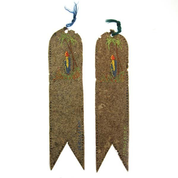 Two Hand Painted Felt Bookmarks Palestine, Circa 1920.