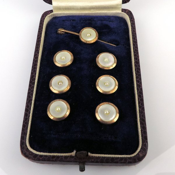 Gilt Metal and Mother of Pearl Buttons & Tie Pin Set