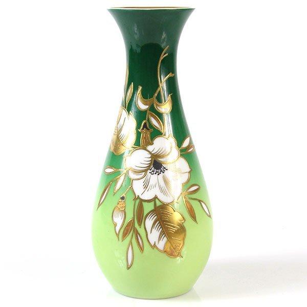 Wallendorf Porcelain Gold Relief Vase, East Germany.