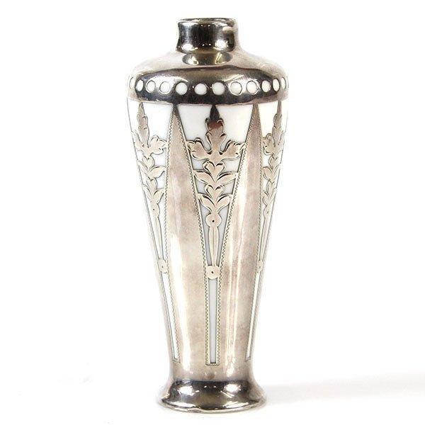 Art Deco Silver Overylay Porcelain Solifleur Vase.