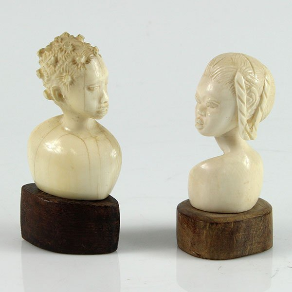 Two Carved African Ivory Bust of Young Women.