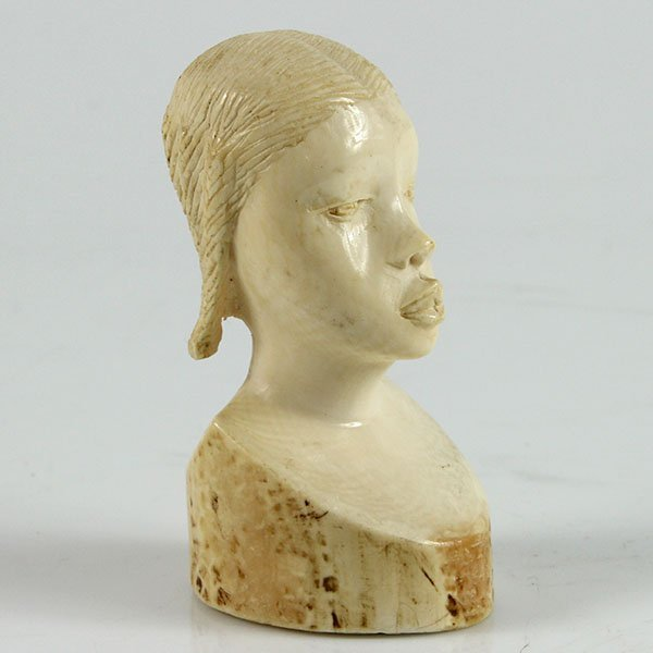 African Ivory Carved Bust Figure of a Woman