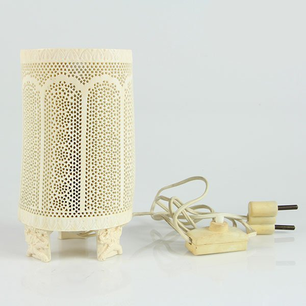 Chinese Carved Ivory Lamp.