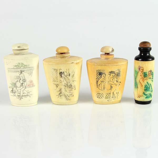 4 Japanese Bone Erotic Scent Bottles.