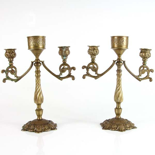 Pair of Bronze Candelabras, Early 20th Century.