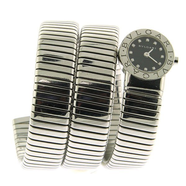 Bvlgari Lady's Stainless Steel Bangle Watch Tubogas.