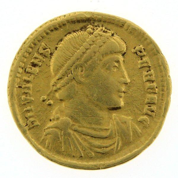 Late Roman Empire Gold Solidus Coin, Valens 364-378 AD