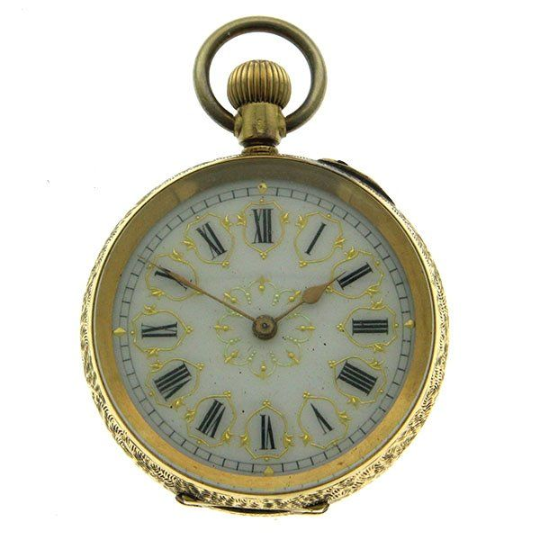 French 18k Yellow Gold Cuivre Ladies Pocket Watch.