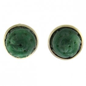 Pair Of Sterling Silver Carved Jade Clip On Earrings.