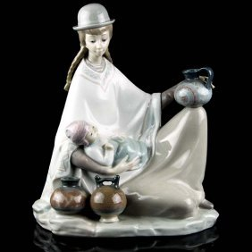 Lladro Native Girl With Baby Porcelain Figure.